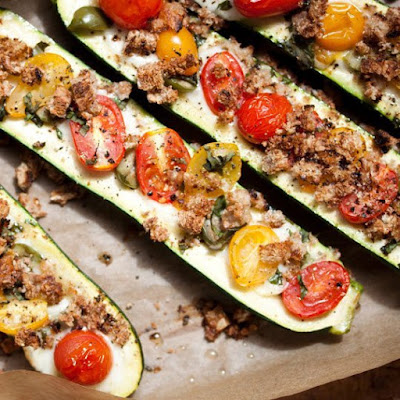 Zucchini Boats with Mozzarella and Olives