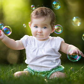 Bubble Girl by Mike DeMicco - Babies & Children Child Portraits ( bubble, sweet, girl, bubbles, baby, pretty, portrait )