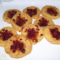 Cheddar Pecan Thumbprints With Jalapeno Jelly and Cranberries