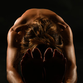 Back by Troy Wheatley - People Body Parts ( woman, stretch, feet, yoga, black )