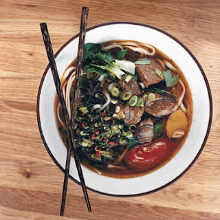 Sichuan Beef Noodle Soup with Pickled Mustard Greens