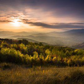 Autumn Sunset by Ovidiu Caragea - Landscapes Mountains & Hills ( clouds, sky, autumn, sunset, colors, fall, trees, forest, landscape, leaves, color, colorful, nature )