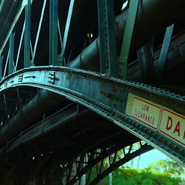 Watch Your Head by Leigh Martin - Buildings & Architecture Bridges & Suspended Structures ( bridge low danger sign )