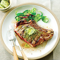 Grilled Grass-fed Rib-eyes with Herb Lemon Butter