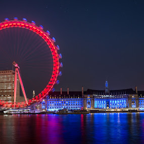 London Eye by Walid Ahmad - City,  Street & Park  Night ( uk, london, d800, nikon, photography )