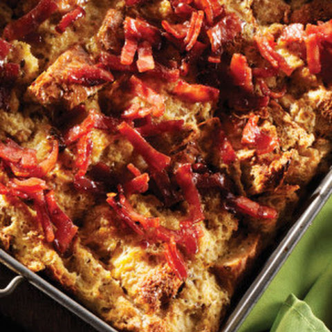 Breakfast Bread Pudding with Turkey Bacon Crumble