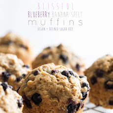 Blissful Blueberry Banana Spelt Muffins (vegan + refined sugar-free)