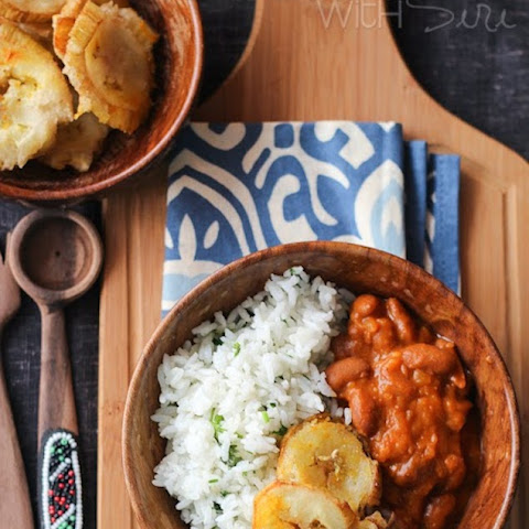 Puerto Rican Garlic Tostones with Beans and Rice