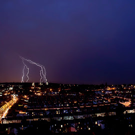 Storm by Greg Brzezicki - City,  Street & Park  Skylines ( lightning, streets, night, storm, city )