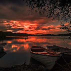 Take me Away by Daniel Herr - Transportation Boats ( long time expsure, sunset, boats, oyangen, lake, norway )