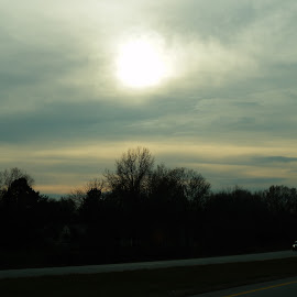 Home before Dark by Nola Jungeberg - Landscapes Travel ( car, highway, headlights, travel, homebound )