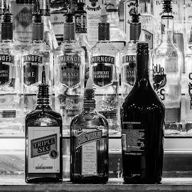 by Jon Page - Food & Drink Alcohol & Drinks ( black and white, alcohol, booze, object, bottles, bar,  )
