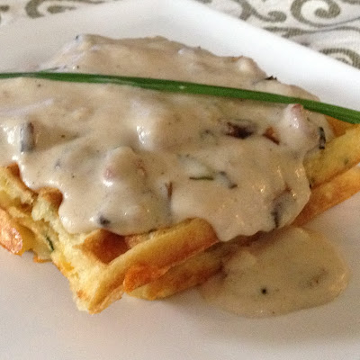 Chive N Cheddar Buttermilk Waffles and White Gravy