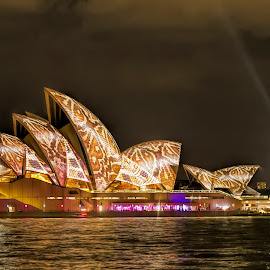 Sydney Opera House by Michael Lucchese - Buildings & Architecture Public & Historical ( water, sydney harbour, colors, vivid, architecture, vibrant, cityscape, photography, city, australia, night, opera house, sydney )