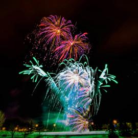 Firework by Joseph Law - News & Events World Events ( alberta, sherwood park, fireworks, light poles, celebration, city park, competition )