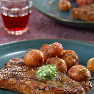 Grilled Strip Steak with Herb Butter