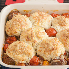 Tomato Cobbler with Gruyere Biscuits