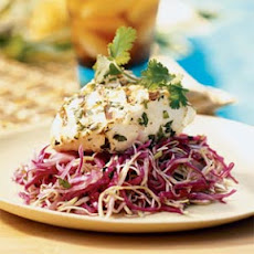 Grilled Fish on Cilantro-Chili Slaw