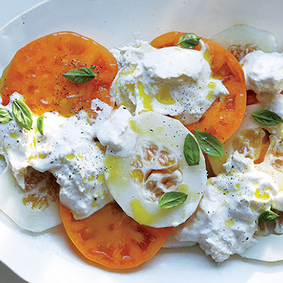 Tomato, Pickled Melon, and Burrata Salad
