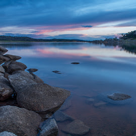 End of February Sunset over Folsom Lake by Dan Bingham - Landscapes Waterscapes ( water, sacramento, sunset, lake, folsom )