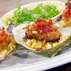 Panneed Oysters wth Sweet Corn Maque Choux, Tomato Jam and Crispy Bacon