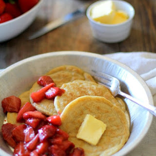 Overnight Yeast Pancakes with Strawberry Topping (gluten free)