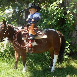 Dekin, my littlest cowboy on dear patient Sunny. by Lois York - Babies & Children Toddlers