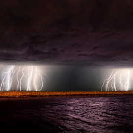 Hillarys Perth under attack by Craig Eccles - News & Events Weather & Storms ( thunder, water, lightning strike, news, ocean, beach, thunder storm., storm, lightning, lightning bolt, event, weather, thunder bolt )