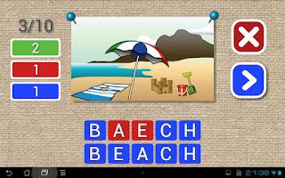 Screenshot of English vocabulary & spelling