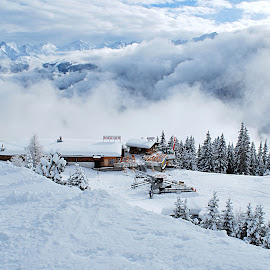 Cloud banks by Eugenija Seinauskiene - Landscapes Weather ( clouds, winter, snow, weather, austria, montains, alps )