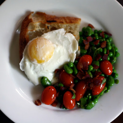 Fava Bean Salad with Toast and Poached Egg