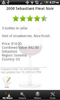 Screenshot of Wine - List, Ratings & Cellar