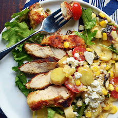 Chicken Milanese with Corn & Tomato Summer Salad