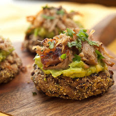 Mini Black Bean Cakes with Carnitas and Avocado Recipe