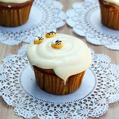 Honey Vanilla Cupcakes with Honey Buttercream Frosting