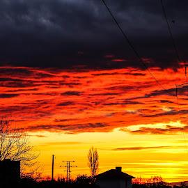 Contrast by Daniel Chobanov - Landscapes Sunsets & Sunrises ( contrast, flag, fire clouds, germany, sunrise )