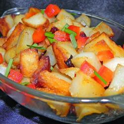 Fried Potatoes with Red and Green Peppers