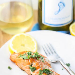 Grilled Salmon with Chardonnay Herb Sauce