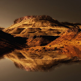 Dusk by John Phielix - Landscapes Mountains & Hills ( desert, dry, sunset, reflections, evening )