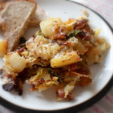 Cheesy Bacon, Potato & Cabbage Gratin