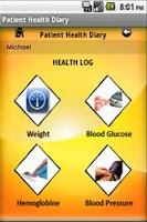 Screenshot of Patient Health Diary
