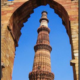 Framing Qutub Minar by Milan Kumar Das - Buildings & Architecture Statues & Monuments