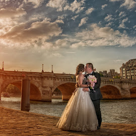 l'amour by Marius Igas - Wedding Bride & Groom ( love, paris, sunset, wedding, france )
