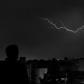 Lightning by Rohan Gupta - Landscapes Cloud Formations ( clouds, lightning, monochrome, nature, storm )