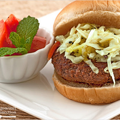 Scallion Burgers with Sesame Slaw