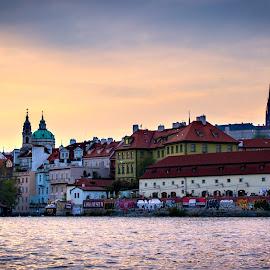 On the river by Michael Strier - City,  Street & Park  Skylines ( sunset, czech republic, prague, sun, river,  )
