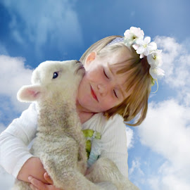 Gentleness by Angelica Glen - Novices Only Portraits & People ( love, child, clouds, girl, gentle, hug, lamb, cuddle, soft,  )