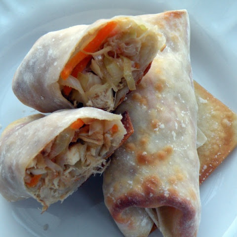 Baked Chicken and Vegetable Spring Rolls