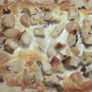 White Pizza with Roasted Garlic and Green Olives