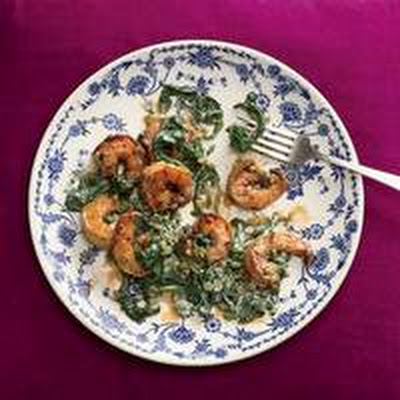 Spicy Shrimp with Creamy Greens